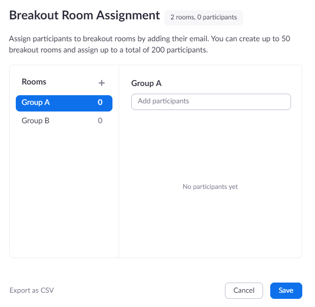 Zoom screenshot showing breakout room assignments