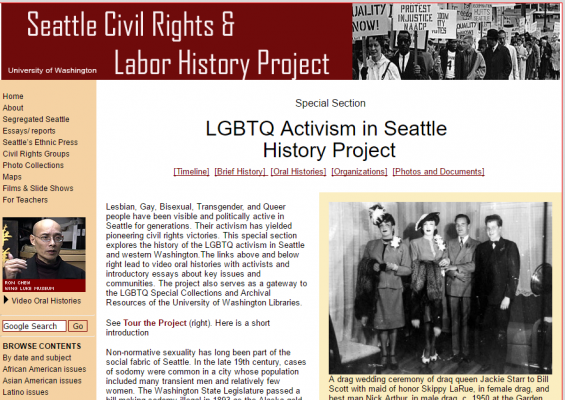 LGBTQ Activism in Seattle website screenshot