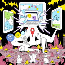 """This is a cartoon titled """"The Church of Techno-Optimism"""" by artist Michael DeForge"""