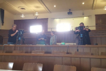 History TV setting up cameras at lecture