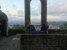 Cody Hartwich in mountaintop fort in San Sebastian, Spain