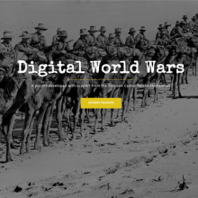 """an image of a war scence with the course title """"Digital World Wars"""""""
