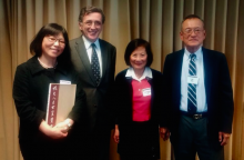 Mr. and Mrs. Shih with Vincent Y.C. Shih Professor of China Studies Madeleine Yue Dong and Professor Resat Kasaba, Director JSIS