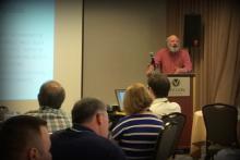 Professor Bruce Hevly speaking at Atomic West workshop