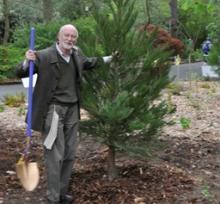 Richard Johnson planting a tree