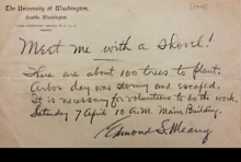 Letter from Edmond Meany calling to plant 100 trees