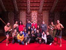 Image of UW Students Posing Together at the Waitangi Treaty Grounds.