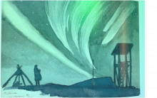 This is a artistic painting of polar light