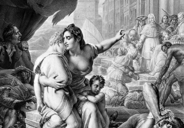 Lithograph depicting an allegorical female figure assisting plague victims