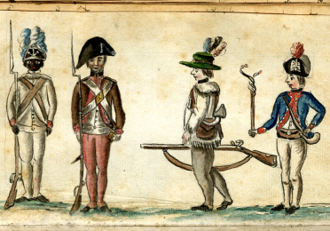 Illustration of colonial soldiers