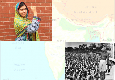 Image of map of south Asia with a photo of Malala Yousafzai and a photo of Mahatma Gandhi