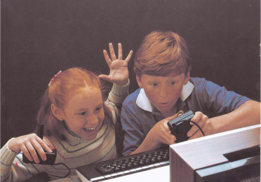 Children playing an Atari videogame in a 1970s advertisement