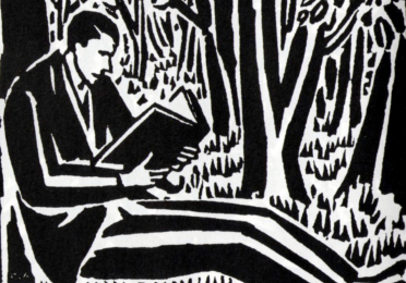 Illustration of a man reading alone under a tree