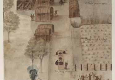 Illustration of a Native American village