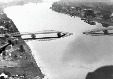 Truong Tien Bridge in Hue after the Tet Offensive in 1968, as seen from a helicopter