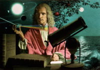 Newton surrounded by his discoveries.
