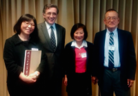 Mr. and Mrs. Shih with Vincent Y.C. Shih Professor of China Studies Madeleine Yue Dong and Professor Resat Kasaba, Director JSIS
