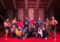 Image of UW Students Posing Together at the Waitangi Treaty Grounds.