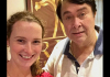 Jessica Bachman with Indian actor-director Randhir Kapoor in India.