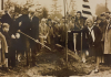 Edmond Meany wields a shovel in 1930 while planting a beech tree in honor of Revolutionary War leader Baron von Steuben